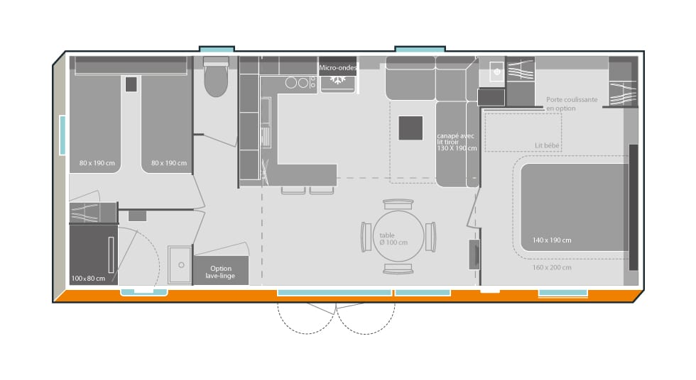 O'HARA 914 2CH - Mobil home neuf - Gamme LOCATIVE - Zen Mobil homes