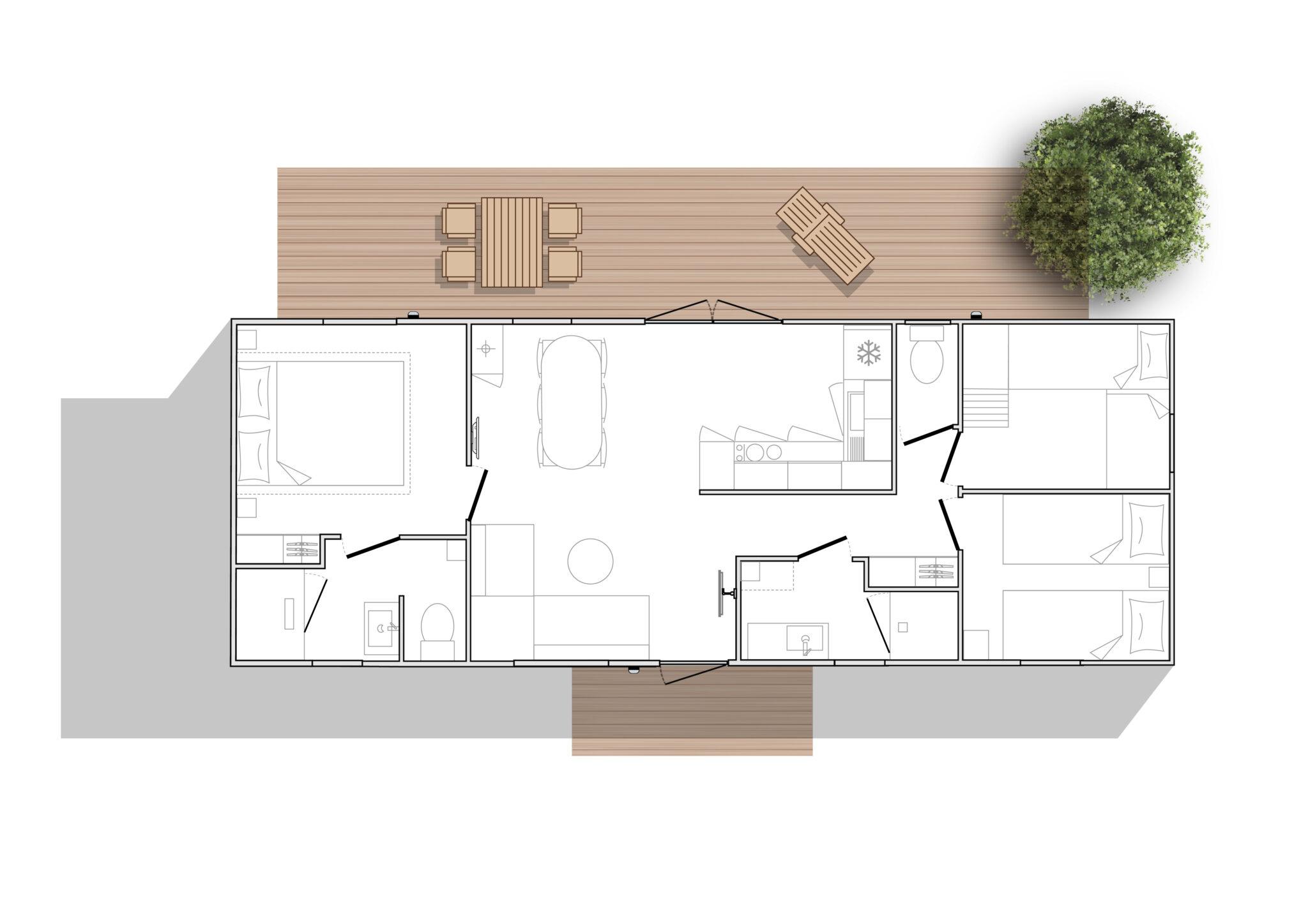 OHARA 1064 côté Jardin - Mobil home Neuf - Zen Mobil homes