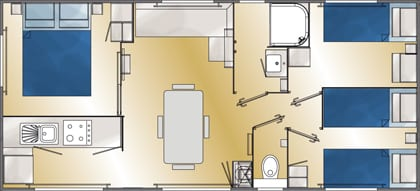 LOUISIANE GRAND LARGE 3 - Mobil home neuf - Gamme Vacance - Zen Mobil homes