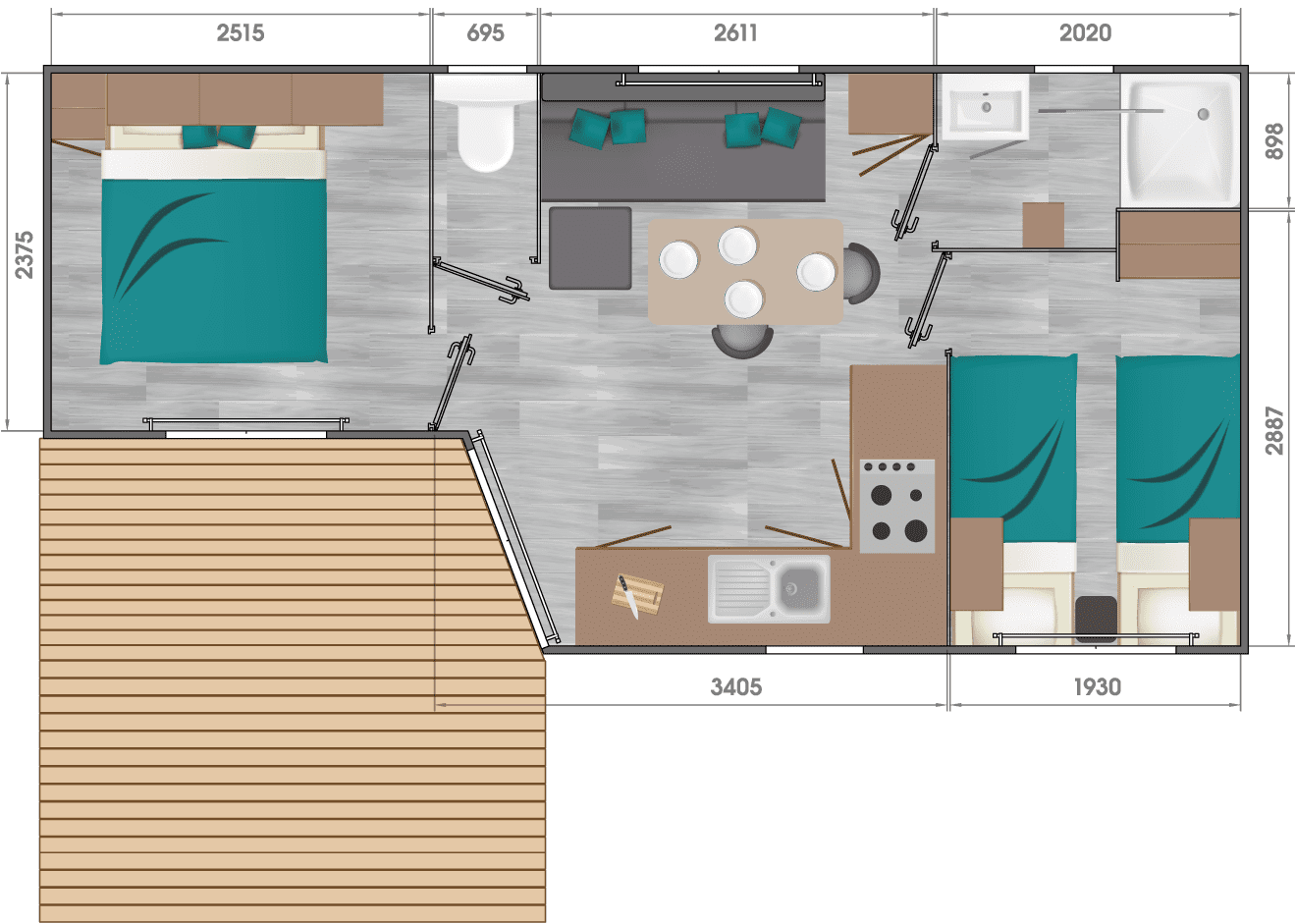 Louisiane Pacifique 2 - Neuf - Vacance - 2019 - Zen Mobil homes