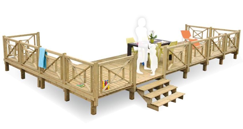 Terrasse Zenconfort - non couv - 7.50x2.50m - 2 651€ - Zen Mobil homes