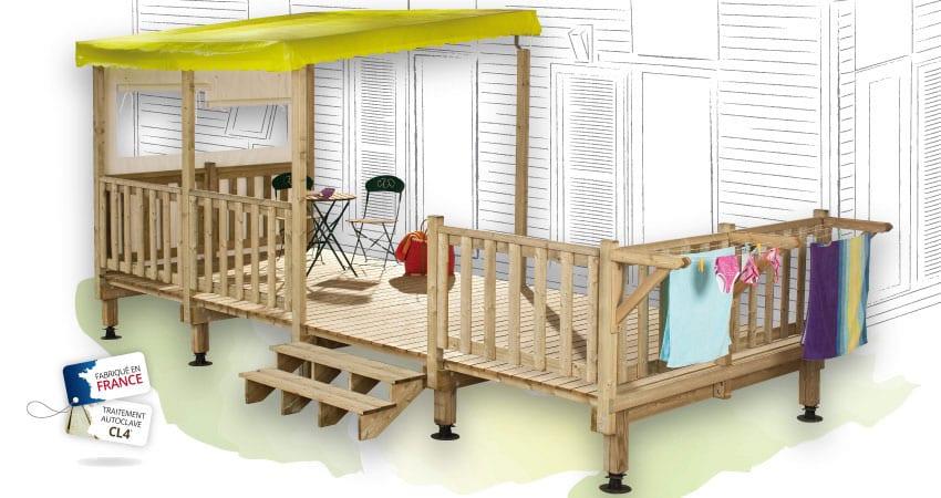 Terrasse Zen - 4.50x2.50m - Semi Couverte - 1 812€ - Zen Mobil homes
