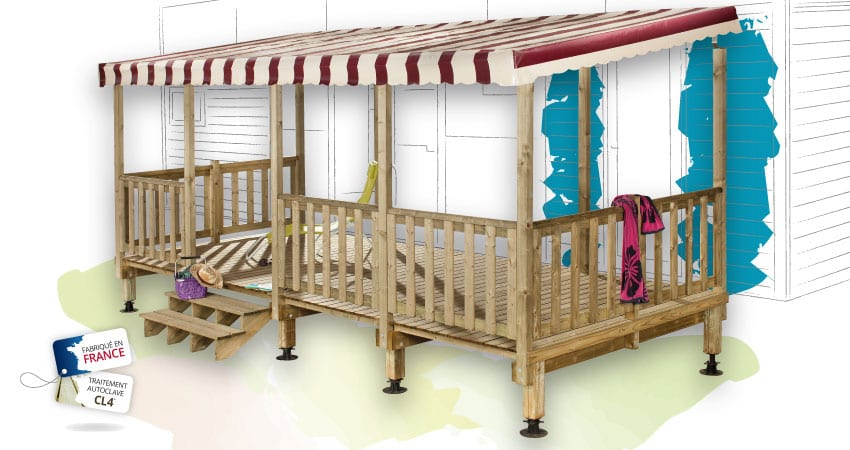 Terrasse Zenidea - 6x2.50m - Couverte - 3 211€ - Zen Mobil homes