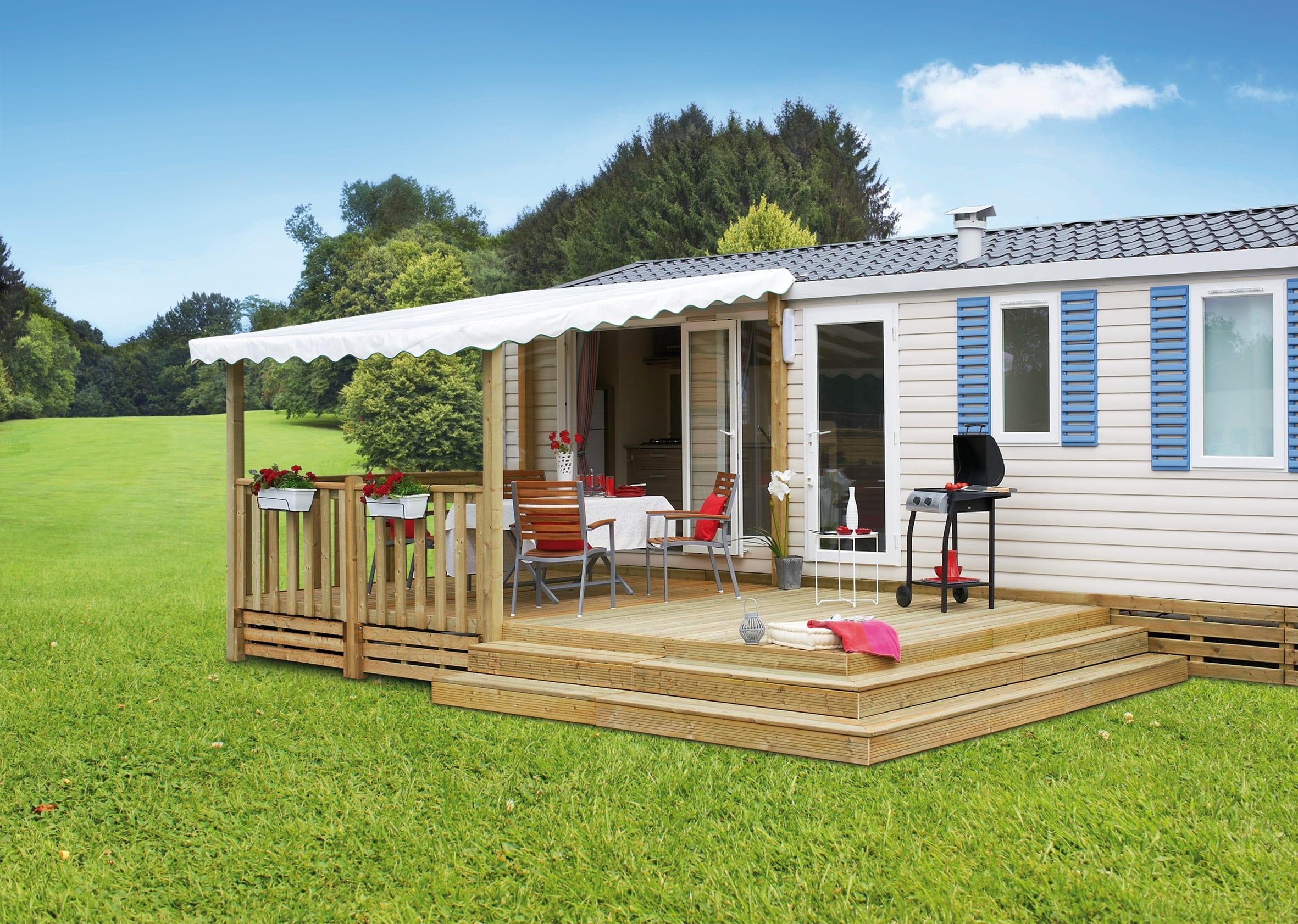 Terrasse Zenespa - 6x3m / 3m - Semi couverte - 3 307€ - Zen Mobil homes