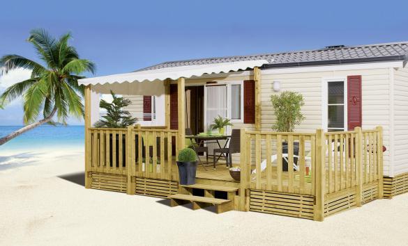 Terrasse Zenespa - 7.50x3m / 3m - Semi couv - 3 721€ - Zen Mobil homes
